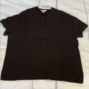 NWT Black Frank And Oak Short Sleeve Button Top SM
